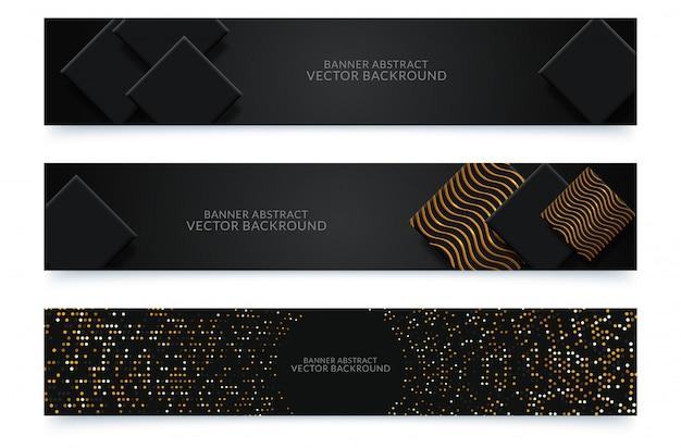 Projekt czarnych poziomych banerów internetowych