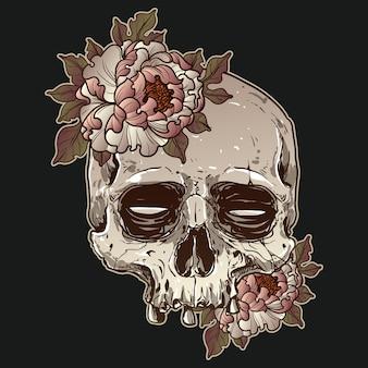 Projekt czaszki i róż