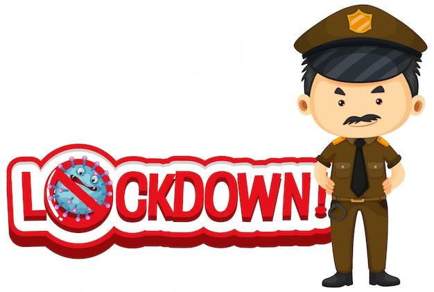 Projekt czcionki blokującej słowa z policjantem