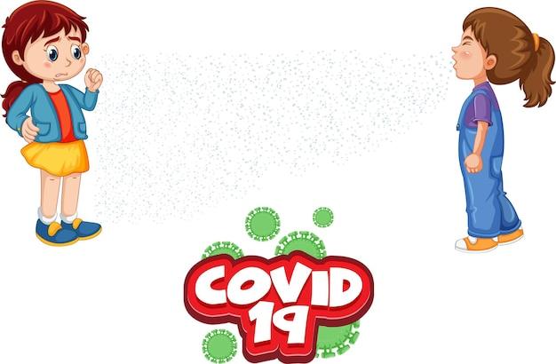 Projekt czcionki covid-19 z dwójką dzieci utrzymujących dystans społeczny na białym tle
