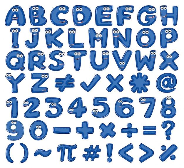 Projekt czcionki dla angielskich alfabetów i liczb na niebiesko