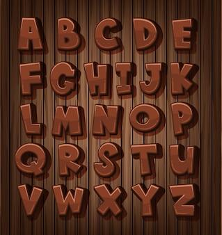 Projekt czcionki dla angielskich alfabetów o brązowym kolorze