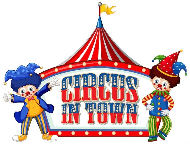 Projekt czcionki dla cyrku słownego w mieście z klaunami w cyrku