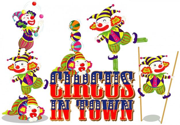 Projekt czcionki dla cyrku słowo w mieście ze szczęśliwymi klaunami