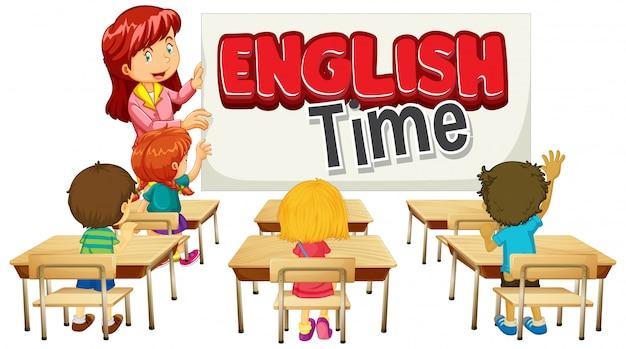 Projekt czcionki dla czasu angielskiego na słowo z nauczycielem i uczniami w klasie