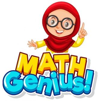 Projekt czcionki dla geniuszu matematyki słowo z uroczą muzułmańską dziewczyną