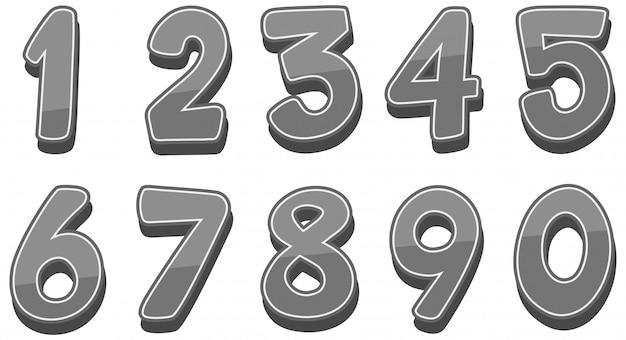 Projekt czcionki dla liczb od jeden do zera na białym tle