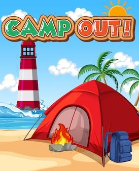 Projekt czcionki dla obozu z namiotem w parku