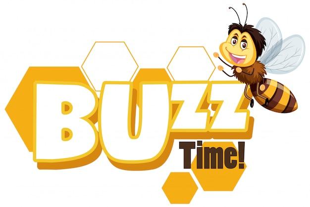 Projekt czcionki dla słowa buzz time z happy bee