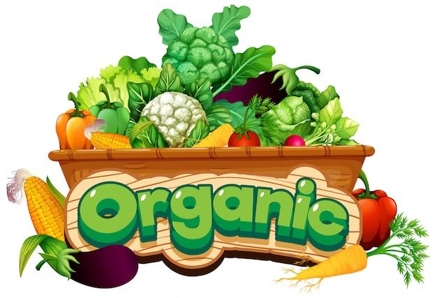 Projekt czcionki dla słowa ekologicznego z wieloma świeżymi warzywami