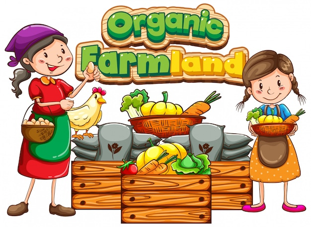 Projekt czcionki dla słowa ekologicznej ziemi uprawnej z rolnikami i warzywami