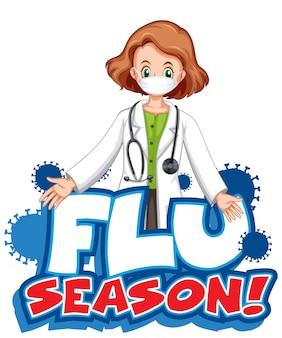 Projekt czcionki dla słowa grypy sezonu z lekarzem kobietą