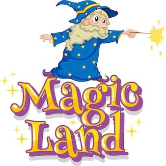 Projekt czcionki dla słowa magiczna kraina z czarodziejem i magiczną różdżką