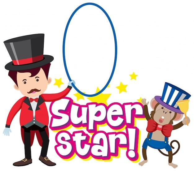 Projekt czcionki dla słowa superstar z magikiem i małpą