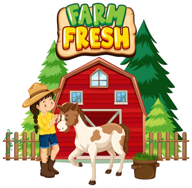 Projekt czcionki dla słowa świeże gospodarstwo z rolnikiem i koniem