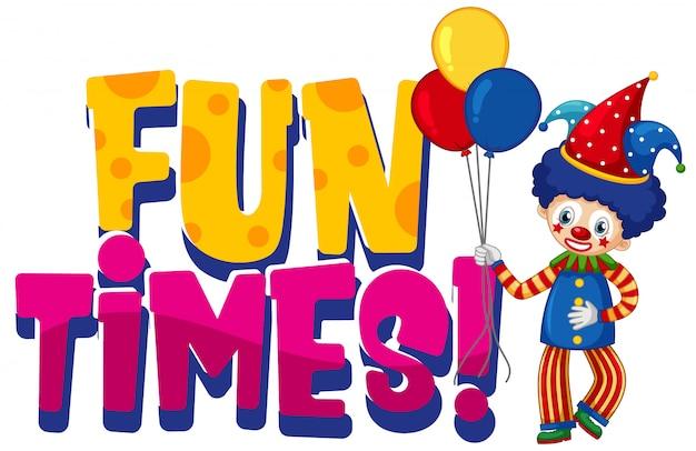 Projekt czcionki dla słowa zabawy razy z zabawnym klaunem na białym tle