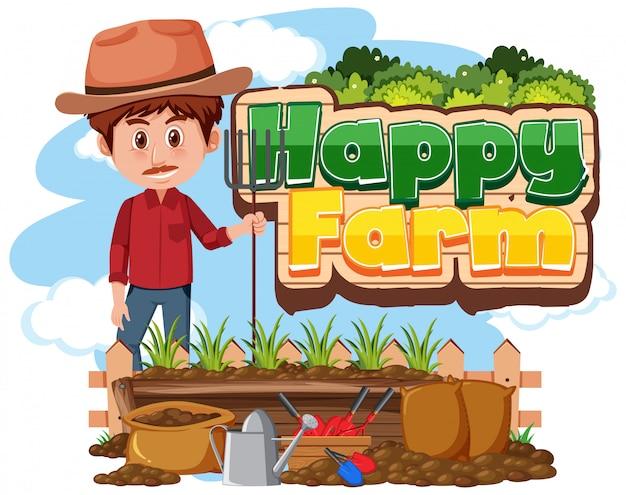 Projekt czcionki dla szczęśliwego gospodarstwa z rolnikiem na farmie