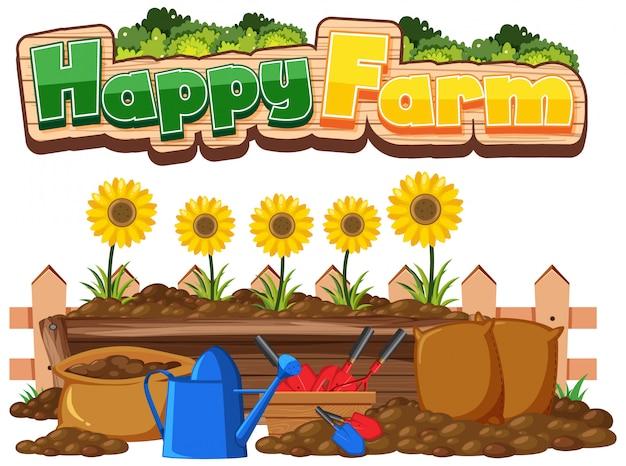 Projekt czcionki dla szczęśliwej farmy i słoneczników w ogrodzie