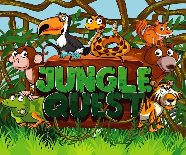 Projekt czcionki dla zadania w dżungli z wieloma dzikimi zwierzętami w tle lasu