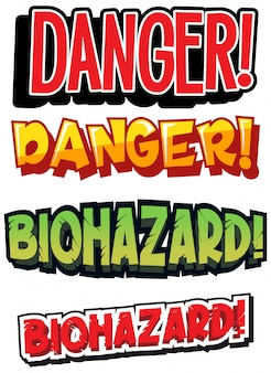 Projekt czcionki dla zagrożenia biologicznego w różnych kolorach
