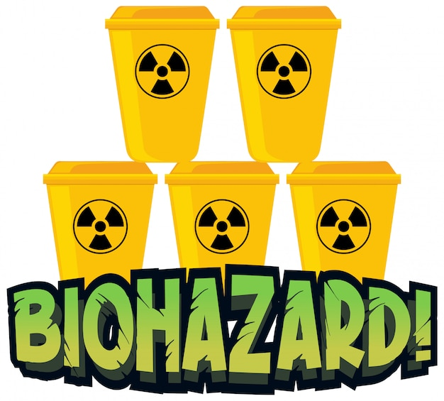 Projekt czcionki dla zagrożenia biologicznego z żółtymi koszami na śmieci