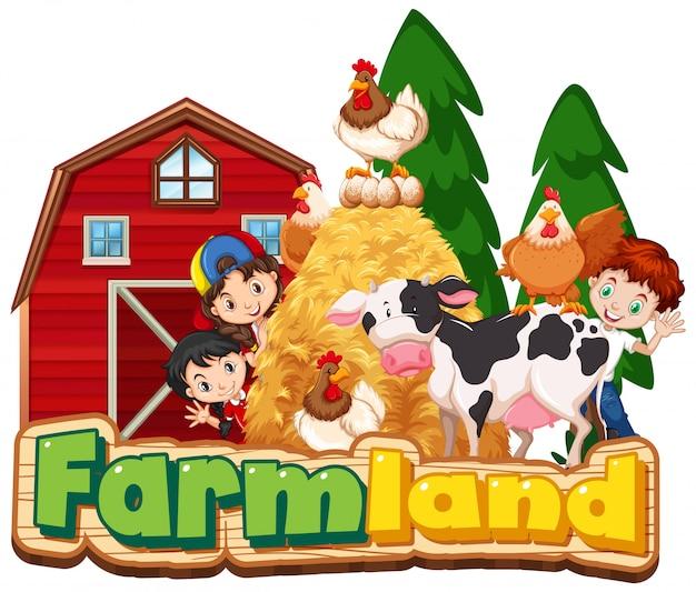 Projekt czcionki dla ziemi uprawnej ze szczęśliwymi dziećmi i zwierzętami