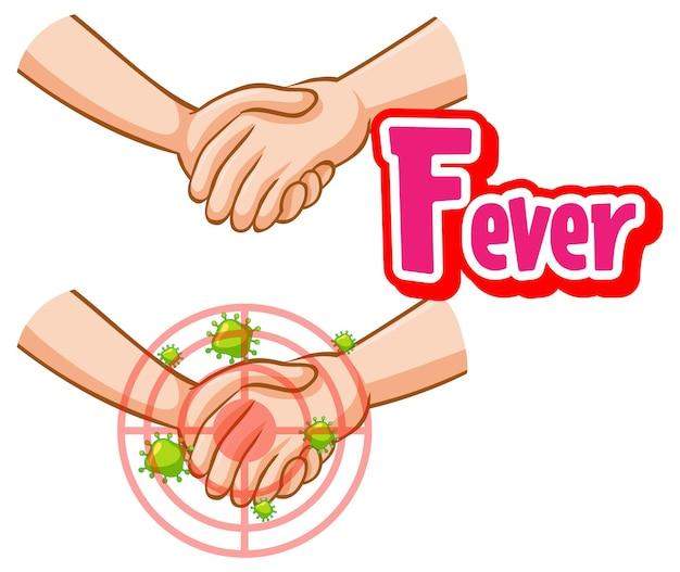 Projekt czcionki gorączka z wirusem rozprzestrzenia się od uścisku dłoni na białym tle