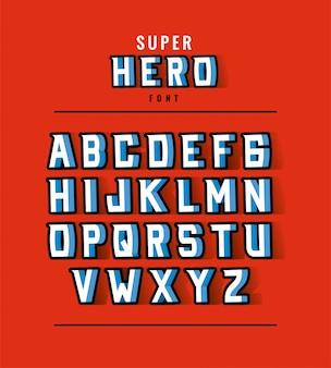 Projekt czcionki i alfabetu superbohatera, ilustracja motywu retro i komiksu typografii