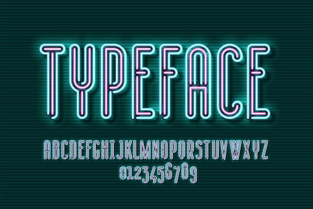 Projekt czcionki lampy neonowej, alfabet, zestaw znaków, krój pisma, typografia, litery retro światła elektrycznego.