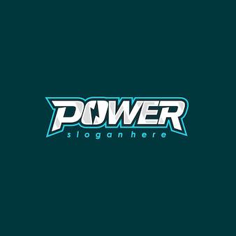Projekt czcionki logo mocy. logotyp energii elektrycznej. godło wektor.