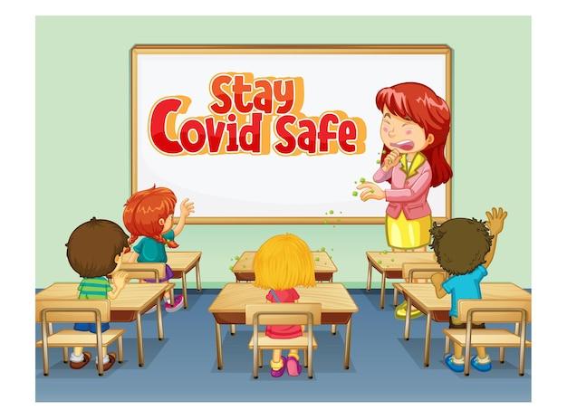 Projekt czcionki stay covid safe na białej tablicy w scenie w klasie