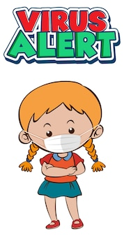 Projekt czcionki virus alert z dziewczyną noszącą maskę medyczną na białym tle