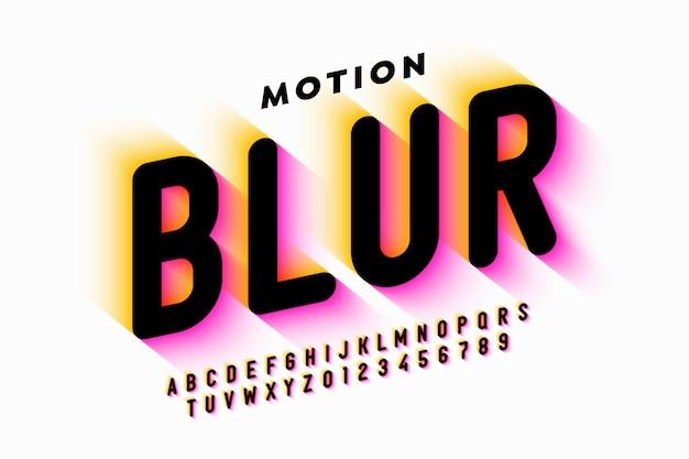 Projekt czcionki w stylu rozmycia ruchu, litery alfabetu i cyfry