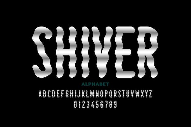 Projekt czcionki w stylu shiver, litery alfabetu i cyfry