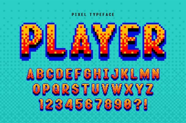 Projekt czcionki wektorowej pikseli, stylizowany jak w grach 8-bitowych.