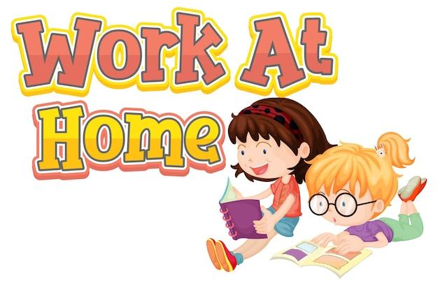Projekt czcionki work at home z dwójką dzieci czytających książki na białym tle