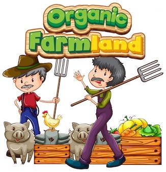 Projekt czcionki z słowo ekologicznej ziemi uprawnej z rolnikami i warzywami