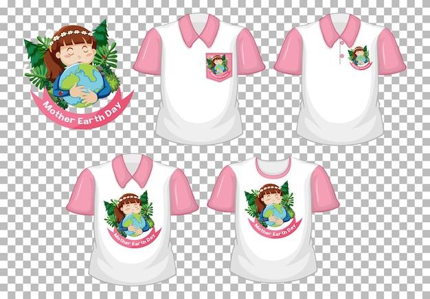 Projekt dnia matki ziemi i zestaw białej koszuli z różowymi krótkimi rękawami na białym tle