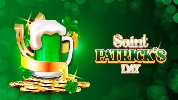 Projekt dnia świętego patryka, irlandzki festiwal uroczystości irlandzki i szczęśliwy motyw ilustracja wektorowa kocioł złotych monet świętego dnia świętego patryka