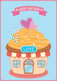 Projekt dom cupcake dla karty urodziny