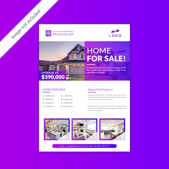Projekt domu na sprzedaż nieruchomości ulotki