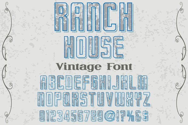 Projekt domu ranczo retro napis etykiety