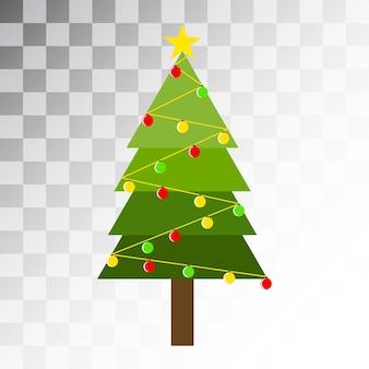 Projekt drzewa sosnowego z kolorowym ornamentem kulowym