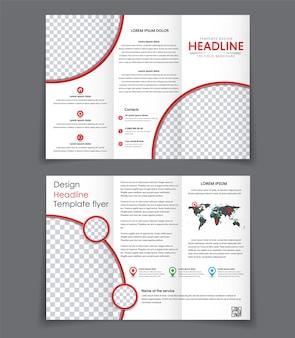 Projekt dwóch składanych broszur un z czerwonymi elementami. szablon potrójnie składanej broszury z miejscem na zdjęcia i informacje.