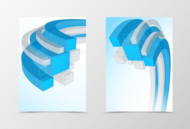 Projekt dynamicznej geometrycznej ulotki z przodu iz tyłu. streszczenie szablon z 3d niebieskimi i szarymi liniami w stylu technologicznym.
