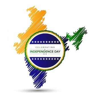 Projekt Dzień Niepodległości Indii z mapy i typografii wektor