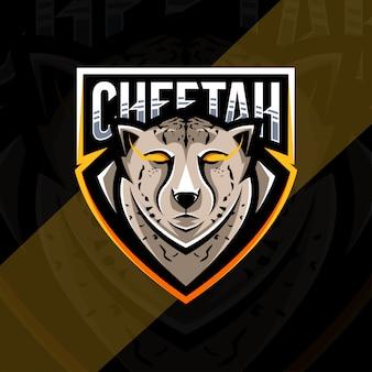 Projekt e-sportowego logo maskotki geparda głowy
