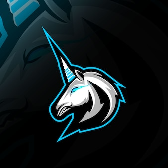 Projekt e-sportowego logo maskotki head unicorn