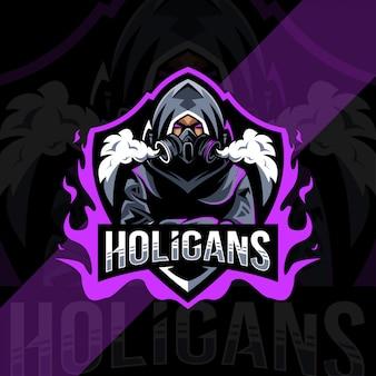 Projekt e-sportowego logo maskotki holigans