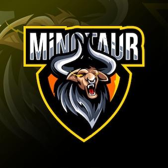 Projekt e-sportowego logo maskotki minotaur